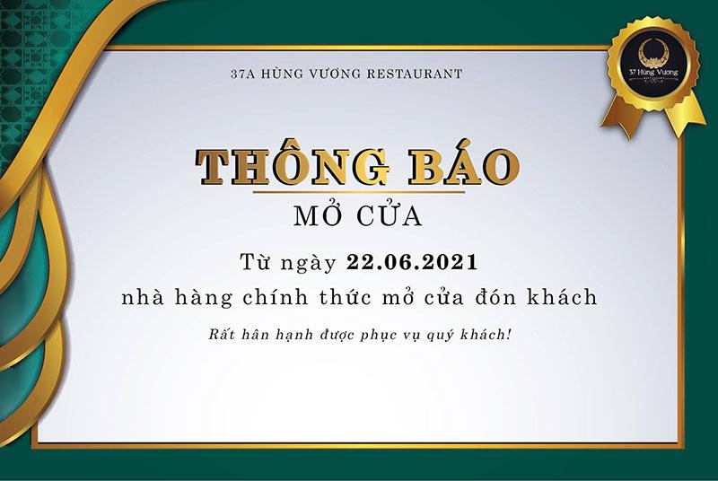 Hệ thống Nhà hàng 37 Hùng Vương thông báo mở cửa trở lại